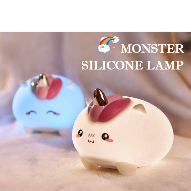 2020 New Dropship LED Silicone Unicorn and Dinosaur Night Light For Children's Gift Colorful Night Lamp Bedroom Baby Touch Light