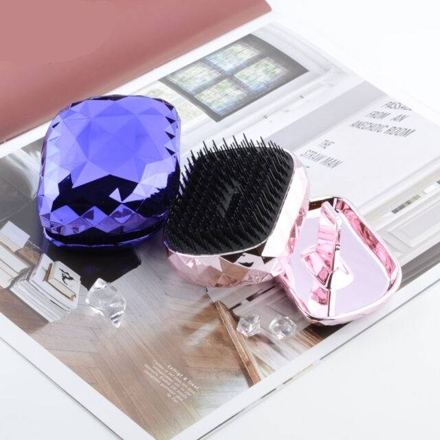 Portable Detangling hair brush soft teeth detangle hair comb Dazzle Magic hairdressing salon styling tools with case